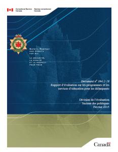 Rapport d'évaluation sur les programmes et les services d'éducation pour les délinquants